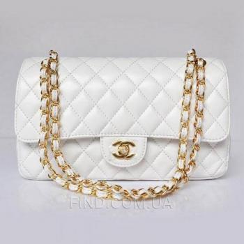 Женская сумка Chanel Flap 2.55 White (8450) реплика