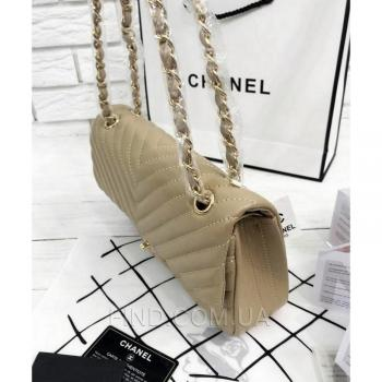 Женская сумка Chanel Chevron Flap Beige (9750) реплика
