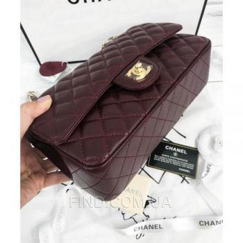 Женская сумка Chanel Classic Flap Bag Claret (9740) реплика