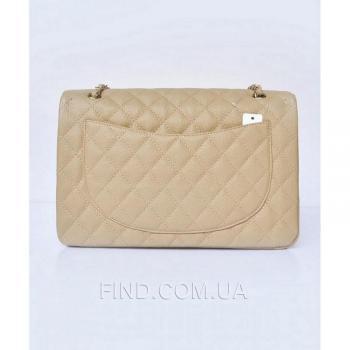 Женская сумка Chanel Jumbo Biege Caviar (8406) реплика