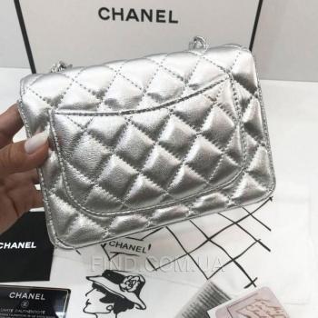 Женская сумка Chanel Mini Flap Silver (8139) реплика