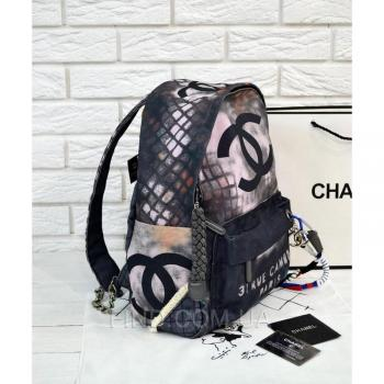 Рюкзак Chanel Graffiti Printed Canvas Backpack (9704) реплика