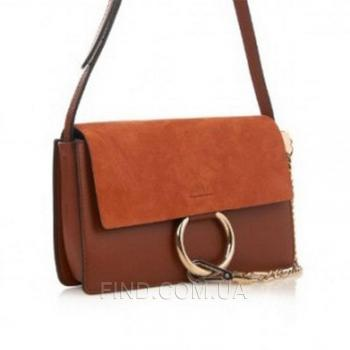 Женская сумка Chloe faye cross-body bag brown (2075) реплика