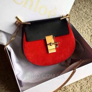 Женская сумка Chloe Drew Mini Red-Black (2050) реплика