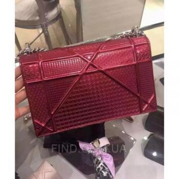 Женская сумка Dior Diorama Metallic Claret (2298) реплика