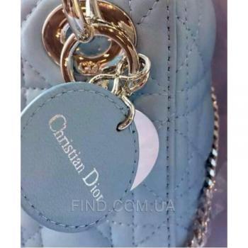 Женская сумка Lady Dior Mini With Chain Pale Blue (2268) реплика