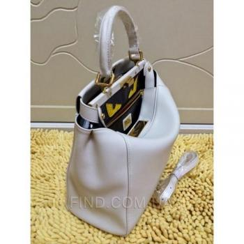 Женская сумка Fendi Peekaboo Medium White (2637) реплика
