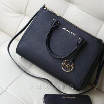 Женская сумка Michael Kors Medium Sutton Black (5542) реплика