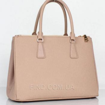 Женская сумка Prada saffiano lux tote bag biege (6901) реплика