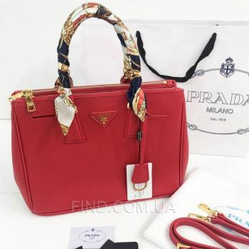 Женская сумка Prada saffiano lux tote bag red (6903) реплика