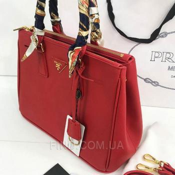 Женская сумка Prada saffiano lux tote bag red (6903) реплика