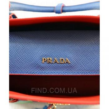 Женская сумка Prada Cuir Double Bag Royal Blue (6925) реплика