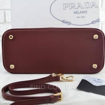 Женская сумка Prada Saffiano Lux Tote Bag Burgundy (6875) реплика