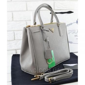 Женская сумка Prada Saffiano Lux Tote Bag Grey (6876) реплика