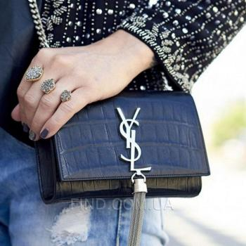 Женская сумка YSL Saint Laurent Tassel Medium Crocodile (7272) реплика