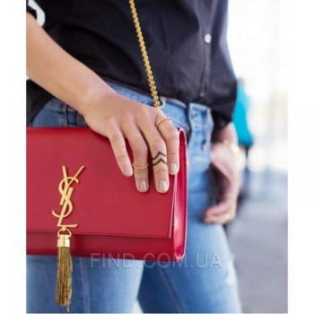 Женская сумка YSL Saint Laurent Tassel Medium Red (7273) реплика