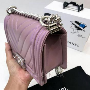 Женская сумка Chanel Chevron Boy Lavender Bag (9800) реплика