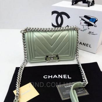 Женская сумка Chanel Chevron Boy Mint Bag (9799) реплика