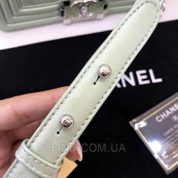 Женская сумка Chanel Chevron Boy Mint Bag (9799) реплика