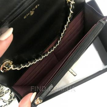 Женская сумка Chanel Chevron Trendy CC WOC Black (9780) реплика