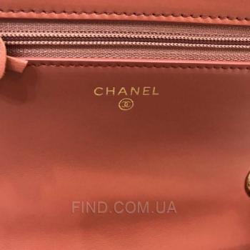 Женская сумка Chanel Chevron Trendy CC WOC Coral (9779) реплика