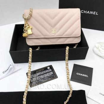Женская сумка Chanel WOC Chevron Caviar (9774) реплика