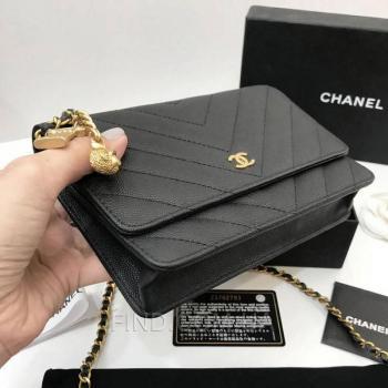 Женская сумка Chanel WOC Chevron Caviar (9773) реплика