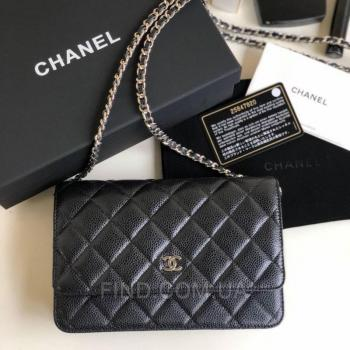 Женская сумка Chanel WOC Wallet On Chain Caviar Black (9765) реплика