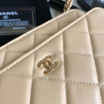 Женская сумка Chanel WOC Wallet On Chain Biege (9771) реплика