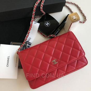 Женская сумка Chanel WOC Wallet On Chain Red (9770) реплика