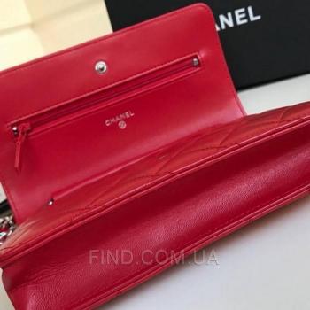 Женская сумка Chanel WOC Wallet On Chain Red (9770) реплика