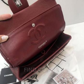 Женская сумка Chanel Classic Flap Bag Marsala (9743) реплика