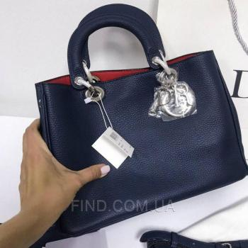 Женская сумка Dior Diorissimo Dark Blue Medium (2322) реплика