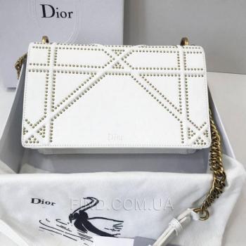 Женская сумка Dior Diorama Studded Off White (2307) реплика