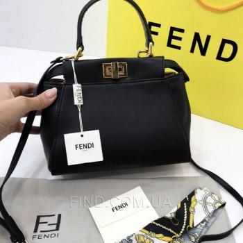 Женская сумка Fendi Peekaboo Medium Satchel Black (2655) реплика