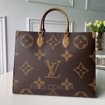 Женская сумка Louis Vuitton Onthego Monogram Reverse Tote (4155) реплика