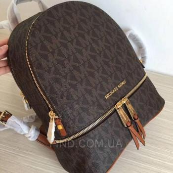 Женский рюкзак Michael Kors Rhea Signature Backpack Acorn (5761) реплика