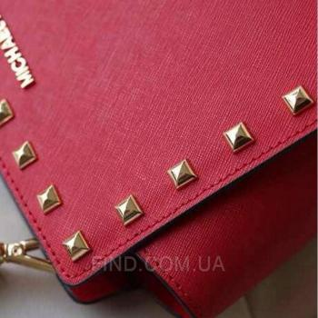 Женская сумка Michael Kors Medium Selma Studded Messenger Red (5157) реплика