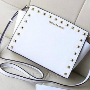 Женская сумка Michael Kors Medium Selma Studded Messenger White (5154) реплика