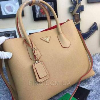 Женская сумка Prada Cuir Double Bag Camel (6929) реплика