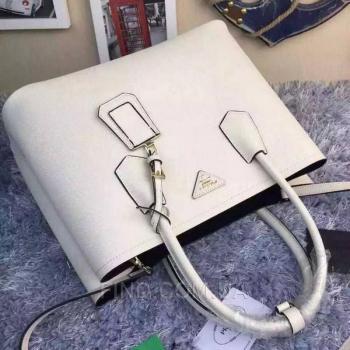 Женская сумка Prada Cuir Double Bag White (6923) реплика