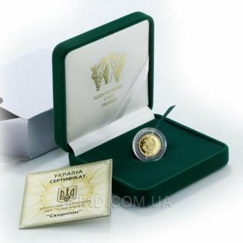 Золотая монета знака зодиака Скорпион