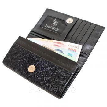 Женский кошелек из кожи ската (ST 53 Black)