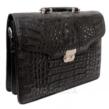 Мужской портфель из кожи крокодила (DCM 1527 S Black)