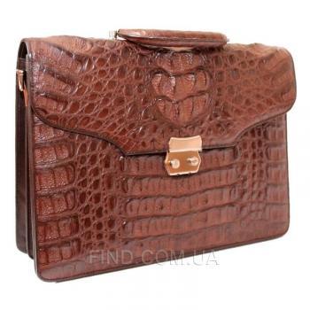 Мужской портфель из кожи крокодила (DCM 1527 G Brown)