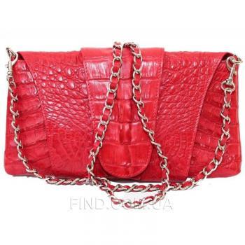 Женская сумка-клатч из кожи крокодила (FCM 320 Fire red)