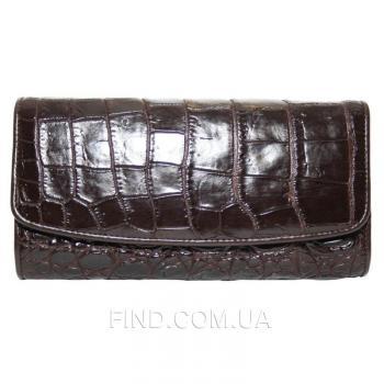 Женский кошелек из кожи крокодила (PCM 03 B Brown)
