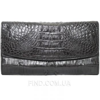 Женский кошелек из кожи крокодила (PCM 03 ST Black)