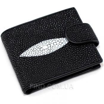 Мужской кошелек из кожи ската (ST 04-2 Black)
