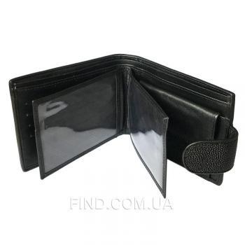 Мужской кошелек из кожи ската (ST 92-2 Black)